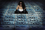 Bonni Linda models at the abandoned Miami Marine Stadium in Virginia Key, FL