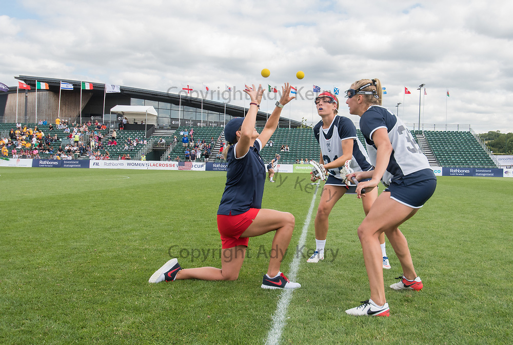 USA's players at the warm up at the 2017 FIL Rathbones Women's Lacrosse World Cup, at Surrey Sports Park, Guildford, Surrey, UK, 14th July 2017.
