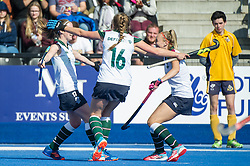 Surbiton celebrate Rebecca Middleton's goal. University of Birmingham v Surbiton - Semi-Final - Investec Women's Hockey League Finals, Lee Valley Hockey & Tennis Centre, London, UK on 22 April 2017. Photo: Simon Parker