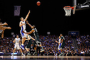 INDIANAPOLIS, IN - MARCH 29: Mason Plumlee #5 of the Duke Blue Devils shoots the ball against Adreian Payne #5 of the Michigan State Spartans during the regional round of the 2013 NCAA Men's Basketball Tournament at Lucas Oil Stadium on March 29, 2013 in Indianapolis, Indiana. (Photo by Joe Robbins)