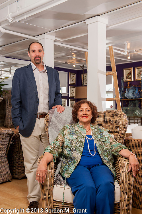 Southampton, NY - 6/14/13 -   Thomas Romano, left, owner of Marie Albert Furniture, with his mother Claudette Romano, at his families retail store, The Mill at Southampton, in Southampton, NY June 14, 2013.     (Photo by Gordon M. Grant)