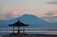 Sea pagoda in front of Mt. Agung in Sanur, Bali, Indonesia