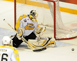 Jacob De Serres of the Brandon Wheat Kings turns aside a shot in Game 6 of the 2010 MasterCard Memorial Cup in Brandon, MB on Wednesday May 19, 2010. Photo by Aaron Bell/CHL Images