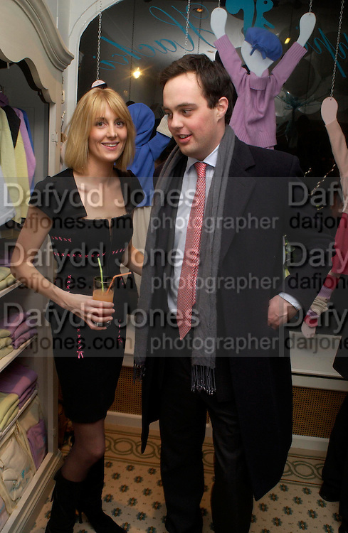 Lady Emily Compton and Lord Buckhurst, Chippi Hacki launch party.New children's clothes shop by Lady Emily Compton. 8 Motcomb St. London SW1. ONE TIME USE ONLY - DO NOT ARCHIVE  © Copyright Photograph by Dafydd Jones 66 Stockwell Park Rd. London SW9 0DA Tel 020 7733 0108 www.dafjones.com