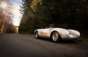 Image of a 1958 silver Porsche 550A Spyder, Washington state, Pacific Northwest, model and property released
