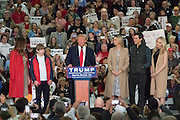 Republican presidential candidate billionaire Donald Trump introduces his family members during a campaign rally at the Myrtle Beach Convention Center November 24, 2015 in Myrtle Beach, South Carolina.