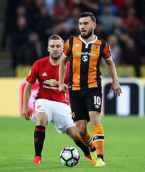 Robert Snodgrass of Hull City and Luke Shaw of Manchester United  - Mandatory by-line: Matt McNulty/JMP - 27/08/2016 - FOOTBALL - KC Stadium - Hull, England - Hull City v Manchester United - Premier League