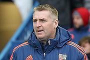 Brentford Manager Dean Smith  during the Sky Bet Championship match between Sheffield Wednesday and Brentford at Hillsborough, Sheffield, England on 13 February 2016. Photo by Simon Davies.
