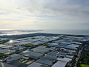 Nederland, Zuid-Holland, Gemeente Westland, 14-09-2019; Glazen stad, Kassengebied Westland, omgeving 's-Gravenzande, gezien naar Hoek van Holland en Tweede Maasvlakte.<br /> Greenhouses area in the West of the Netherlands, the heart of the production of vegetables and fruit for export. Between The Hague and Rotterdam.<br /> <br /> luchtfoto (toeslag op standard tarieven);<br /> aerial photo (additional fee required);<br /> copyright foto/photo Siebe Swart