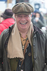 ©Licensed to London News Pictures 26/12/2019. <br /> Chiddingstone ,UK.Nigel Farage at the bar. Nigel Farage (Brexit party Leader) attending Old Surrey Burstow and West Kent Boxing day hunt at Chiddingstone.  Photo credit: Grant Falvey/LNP