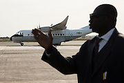 BANJUL, GAMBIA - JAN 26: Plane with Gambia's President Adama Barrow arrives at Banjul International Airport after being sworn-in in neighbouring Senegal, on 26 January 2017 in Banjul, Gambia.