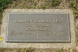 31 August 2017:   Veterans graves in Park Hill Cemetery in eastern McLean County.<br /> <br /> Harvey Robert Lee Corporal US Army World War II Feb 27 1923 Jun 8 1989