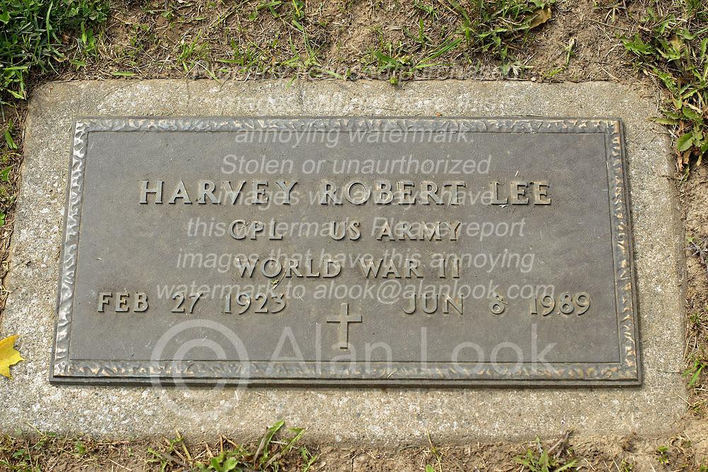 31 August 2017:   Veterans graves in Park Hill Cemetery in eastern McLean County.<br /> <br /> Harvey Robert Lee Corporal US Army World War II Feb 27 1923 Jun 8 1989