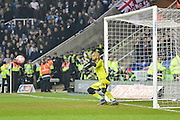 The penalty kick heads towards Reading FC goalkeeper Ali Al Habsi during the The FA Cup Quarter Final match between Reading and Crystal Palace at the Madejski Stadium, Reading, England on 11 March 2016. Photo by Mark Davies.