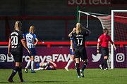 Adelina Engman (Chelsea) scores a goal to give Chelsea the equaliser 1-1 now looking over to Danique Kerkdijk (Brighton) lying injured during the FA Women's Super League match between Brighton and Hove Albion Women and Chelsea at The People's Pension Stadium, Crawley, England on 15 September 2019.