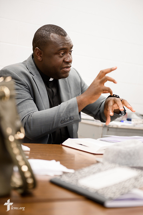 Joseph Lewis, a seminarian in the Ethnic Immigrant Institute of Theology (EIIT) program at Concordia Seminary, St. Louis, answers a question during Bible study before worship on Sunday, Aug. 6, 2017, in his parish Lamb of God Lutheran Church, housed in Ascension Lutheran Church, Landover Hills, Md. LCMS Communications/Erik M. Lunsford