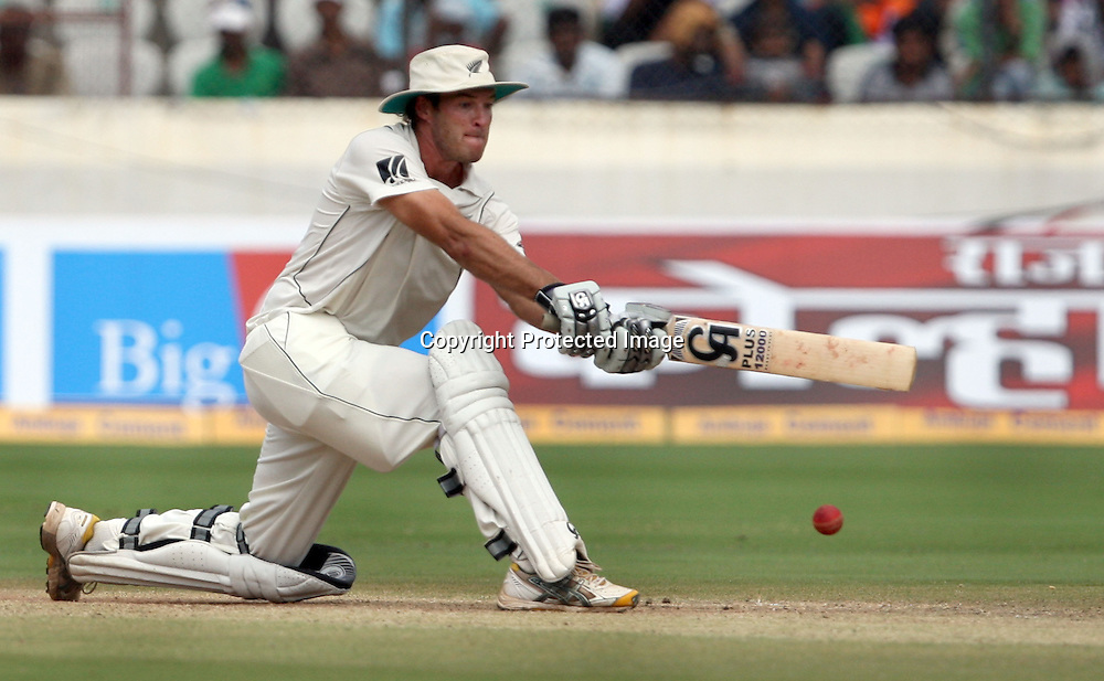 New Zealand batsman Tim McIntosh Playes a shot against india during the 2nd test match Indian vs New Zealand day-4 Played at Rajiv Gandhi International Stadium, Uppal, Hyderabad, 15 November 2010 (5-day match)