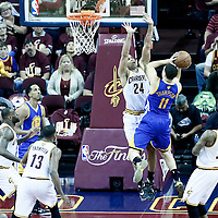 08 June 2016: Golden State Warriors guard Klay Thompson (11) goes to the basket against Cleveland Cavaliers forward Richard Jefferson (24) during the Cleveland Cavaliers 120-90 victory over the Golden State Warriors, during Game Three of the 2016 NBA Finals at the Quicken Loans Arena, Cleveland, Ohio, USA.