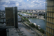 France. Paris. Elevated view on the Seine river. Seine river, east of Paris, the ministery of finances in bercy. view from the big library, grande bibliotheque.BNF  Paris  France   Paris