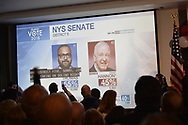 Garden City, New York, USA. November 6, 2018. Nassau County Democrats watch Election Day results at Garden City Hotel, Long Island.