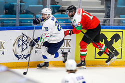 Jurij Repe of Slovenia and Andrew Sarauer of Hungary during ice hockey match between Hunngary and Kazakhstan at IIHF World Championship DIV. I Group A Kazakhstan 2019, on May 3, 2019 in Barys Arena, Nur-Sultan, Kazakhstan. Photo by Matic Klansek Velej / Sportida