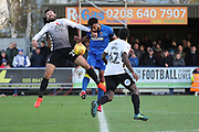 AFC Wimbledon midfielder Tom Soares (19) battles for possession during the EFL Sky Bet League 1 match between AFC Wimbledon and Peterborough United at the Cherry Red Records Stadium, Kingston, England on 12 November 2017. Photo by Matthew Redman.
