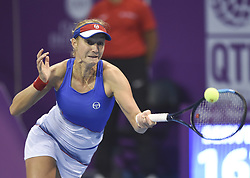 DOHA, Feb. 14, 2018  Ekaterina Makarova of Russia returns the ball during the single's second round match against Simona Halep of Romania at the 2018 WTA Qatar Open in Doha, Qatar, on Feb. 14, 2018. Ekaterina Makarova lost 0-2.   wll) (Credit Image: © Nikku/Xinhua via ZUMA Wire)