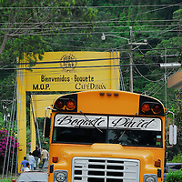 Town, of Boquete, Province of Chiriqui, country of Panama. .Old American school buses serve a transportation in and out of  Boquete from David, the biggest four city in the country.