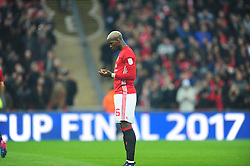 PAUL POGBA MANCHESTER UNITED PRAYS BEFORE KICK OFF, EFL Cup Final, Manchester United v Southampton FC, Wembley Stadium Sunday 26th February 2017