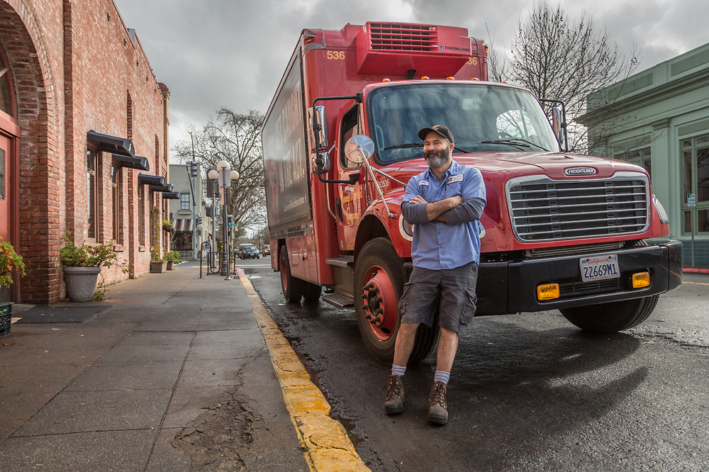 """I've been driving for Young's Market for eight years...I deliver wine, spirits and beer and cover an area of about 100 miles around Santa Rosa.""   -Skip with his delivery truck outside the Hydro Grill in Calistoga"