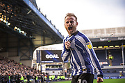 Sheffield Wednesday vice captain Barry Bannan scores from the penalty spot and celebrates his team taking the lead during the EFL Sky Bet Championship match between Sheffield Wednesday and Bristol City at Hillsborough, Sheffield, England on 22 December 2019.