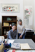 Kawagoe, Sitama prefecture, April 12 2014 - Portrait of Mr Serisawa and Ms Miyamoto who are in charge of the Chukiren Peace Memorial Museum, a ressource center against forgetting Japanese wartime atrocities.