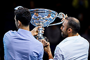 Juan Sebastian Cabal of Columbia (left) and Robert Farah  of Columbia celebrate with their trophy becoming ATP Doubles No 1 during the Nitto ATP Finals at the O2 Arena, London, United Kingdom on 14 November 2019.