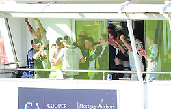 The Middlesex team celebrate victory on the balcony.  - Mandatory by-line: Alex Davidson/JMP - 13/07/2016 - CRICKET - Cooper Associates County Ground - Taunton, United Kingdom - Somerset v Middlesex - Day 4 - Specsavers County Championship Division One