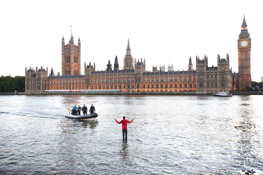 ***Embargoed until 00:01am on Monday 27th June***<br /> Londoners stunned as magician walks on walker....<br /> Londoners were amazed this weekend as 28 year old British magician Dynamo walked across the river Thames, by Westminster bridge, to mark the launch of his new TV show, Dynamo: Magician Impossible which starts on Thursday 7th July at 9pm on Watch.