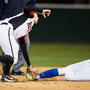 15 February 2018: The San Diego State softball team hosts #25 Kentucky to open up the 28th annual Campbell/Cartier Classic. San Diego State shortstop Shelby Thompson (20) tags out Kentucky catcher Bailey Vick (2) attempting to steal second base in the first inning. The Aztecs lost to the Wildcats 5-0.<br /> More game action at www.sdsuaztecphotos.com