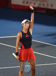 HONG KONG, Oct. 13, 2018  Wang Qiang of China greets the spectators after winning the women's singles semifinal match against Garbine Muguruza of Spain at 2018 WTA Hong Kong Tennis Open in Hong Kong, south China, Oct. 13, 2018. Wang Qiang won 2-1. (Credit Image: © Lo Ping Fai/Xinhua via ZUMA Wire)