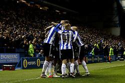 Sheffield Wednesday celebrate Kieran Lee's goal - Mandatory by-line: Robbie Stephenson/JMP - 13/05/2016 - FOOTBALL - Hillsborough - Sheffield, England - Sheffield Wednesday v Brighton and Hove Albion - Sky Bet Championship Play-off Semi Final first leg