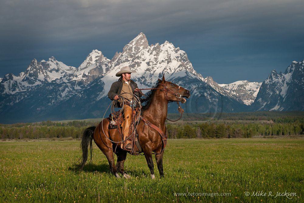 Wrangler making a quick stop on his horse in front of the Grand Teton peaks in Jackson Hole, Wyoming.