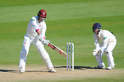 Somerset's Marcus Trescothick and Lancashire's Alex Davies during the Specsavers County Champ Div 1 match between Somerset County Cricket Club and Lancashire County Cricket Club at the County Ground, Taunton, United Kingdom on 4 May 2016. Photo by Graham Hunt.