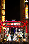 An electric red gate (torii) and neon signs in the Kabukicho district, a popular centre of nightlife and entertainment in Tokyo, Honshu, Japan