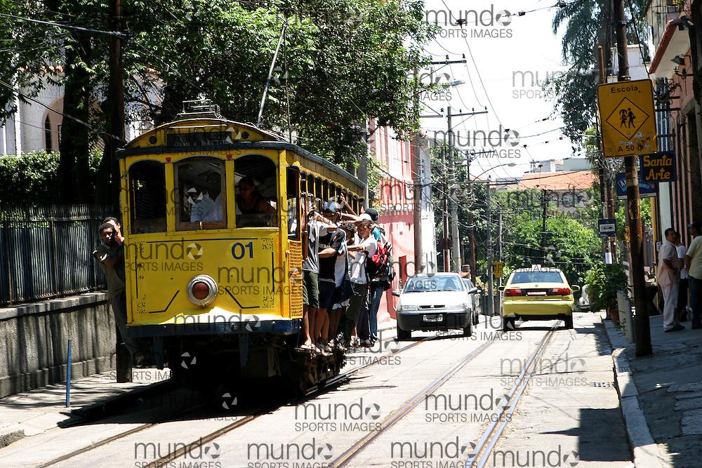 The 'bondinho', or little yellow tram (street car) that serves the Santa Theresa area of Rio de Janeiro in Brazil.