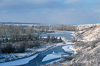 View over Fish Creek Provincial Park and the Bow River toward Calgary, Alberta, Canada