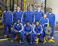 Oxford High weightlifters SITTING (l. to r.) Elisha Brassell, Duen Coleman, Kevin Whitney and BACK (l. to r.) William Paine, Christian Sanchez, Clifton Smith, Joel Forrester, Bo Nash, and Challen Griffin, in Oxford, Miss. on Monday, April 15, 2013, won the Class 5A state championship on Saturday at the Mississippi Coliseum in Jackson, Miss..