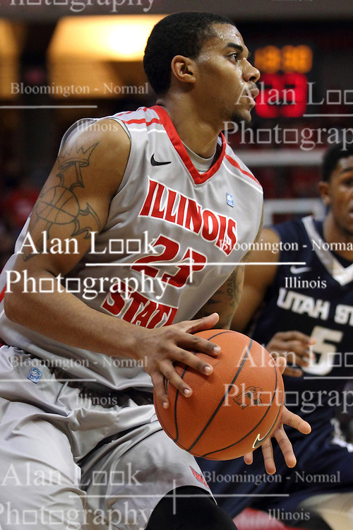 16 November 2014:  Deontae Hawkins during an NCAA non-conference game between the Utah State Aggies and the Illinois State Redbirds.  The Aggies win the competition 60-55 at Redbird Arena in Normal Illinois.