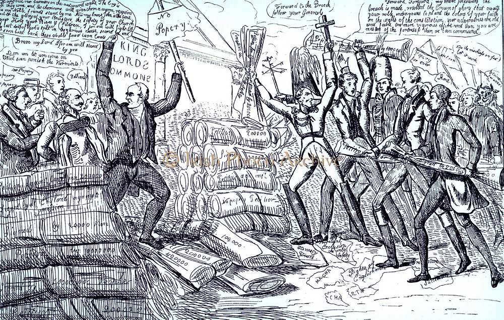 The Battle of the Partitions': Catholic Relief Act, 1829. Supported, right, by Wellington, Peel, Brougham and Burdett and opposed by Cumberland and Eldon and the followers of their No Popery slogan. The carrying of the Act through the British Parliament in 1829 was a victory for Daniel O'Connell's campaigning 1823-1829.