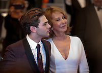 Director Xavier Dolan and Nathalie Baye at the gala screening for the film It's Only the End of the World (Juste La Fin Du Monde) at the 69th Cannes Film Festival, Thursday 19th  May 2016, Cannes, France. Photography: Doreen Kennedy