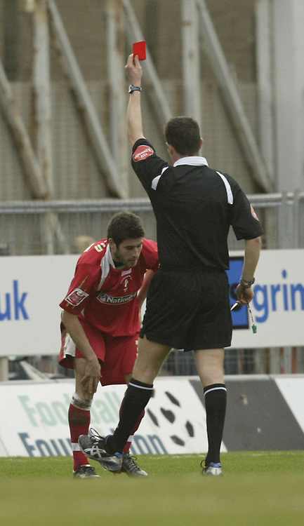 Photo: Aidan Ellis.<br /> Grimsby Town v Swindon Town. Coca Cola League 2. 17/03/2007.<br /> Swindon's Michael Timlin is sent off for his second bookable offence