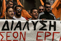 People shout slogans on a demonstrate against a draft labour legislation in central Athens on September 24, 2019 during a 24-hours nationwide strike. in Athens, Greece, on 24 September 2019 <br /> <br /> <br /> <br /> Dimitris Lampropoulos    EEm date