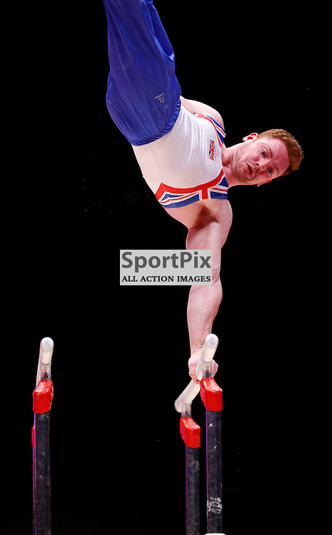 2015 Artistic Gymnastics World Championships being held in Glasgow from 23rd October to 1st November 2015....Great Britain's Daniel Purves performs in the Parallel Bars competition in the Men's Team Final...(c) STEPHEN LAWSON | SportPix.org.uk